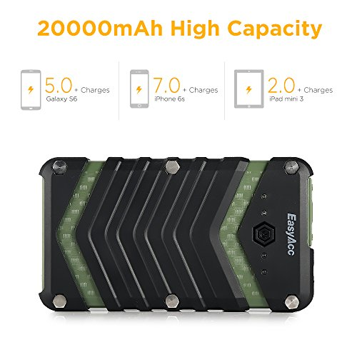 EasyAcc 20000mAh bumpy Outdoor vitality Bank together with IP67 Waterproof Dustproof Shockproof 3 Lighting Modes Flashlight for Apple iPhone iPad Samsung Galaxy elevated Capacity fast Charger Black and Green lightweight vitality Banks