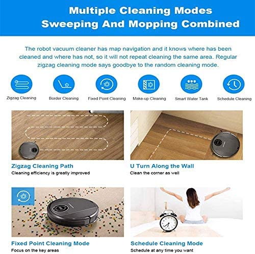 SUYING WiFi Control App Robot Aspirateur Fort Robots Aspirateurs Scution Cleaner Auto de Charge autovacuum Sweeper Pet Hair Medium Pile Tapis et planchers de Bois Franc DYWFN