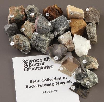 470104-794 - Collection, Rock & Mineral, Basic Collection of Rock-Forming Minerals, 2.5 cm x 2.5 cm, Set/24 - Basic Collection of Rock-Forming Minerals - Each