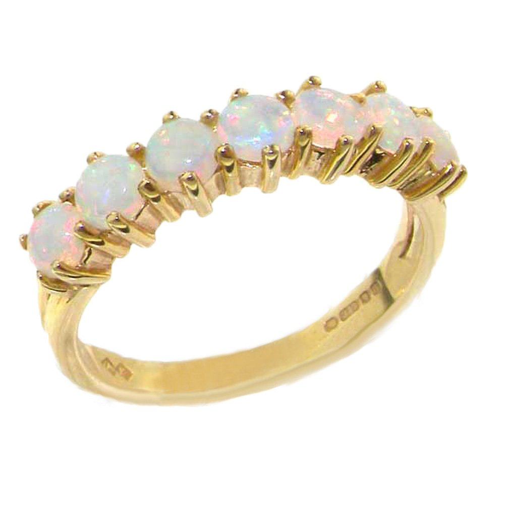 14k Yellow Gold Natural Opal Womens Eternity Ring - Sizes 4 to 12 Available by LetsBuyGold