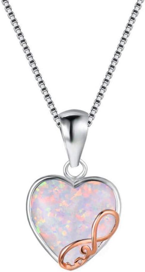 FISISZ Cellacity en Forma de corazón Piedras Preciosas Plata 925 joyería Colgante de ópalo Collar para Mujer Color Oro Rosa Cuello Femenino Ornamento Fiesta, blanco3