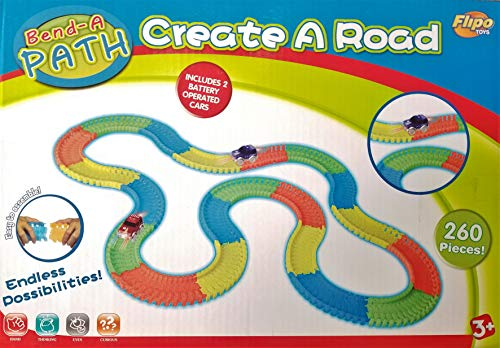 (Flipo Bend A Path Glow-in-The-Dark 13ft Track Set - Includes 2 Light Up SUV's Toy Cars & 260 Multi-Colored Track Pieces - 3 Years +)