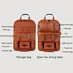 2017 NEW Backseat Car Organizer for Baby Stroller & Kid Travel Accessories, iPad /Tablet Holder, Wet Wipes Tissue Compartment Stretchy Storage Pockets. Kick Mat Seat Back Protector (2 Brown)