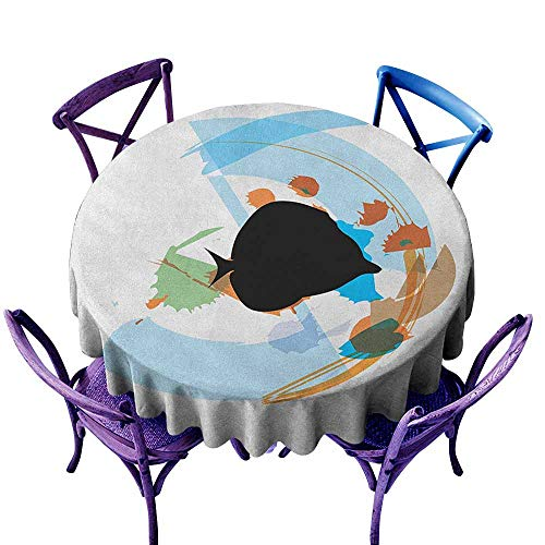 familytaste Fish,Outdoor Picnics Round Tablecloth D 36