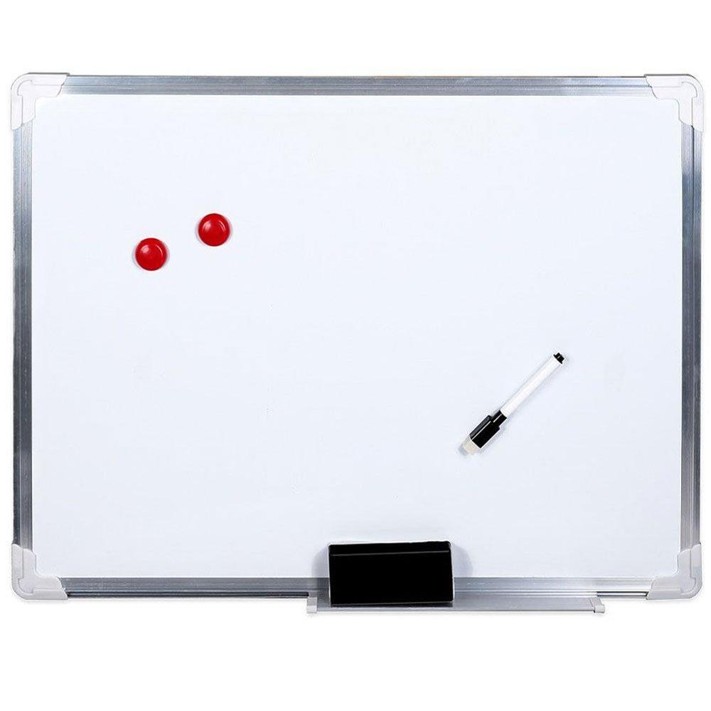 Vetrineinrete/® Lavagna magnetica bianca 60x45 cm con telaio in alluminio e fondo scrivibile compresi due magneti pennerello e cancellino B34