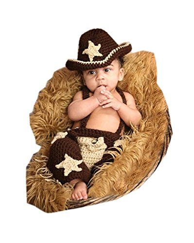 Shinystar Baby Handmade Crochet Knit Cowboy Style Clothes Photography Prop Costume Set (Style 5) (Cowboy And Angel Costume)