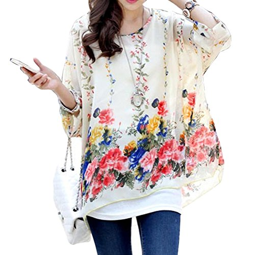 JFDWOPHT Boho Chiffon Tunic Blouse Shirt Loose Batwing Tops for Women ()