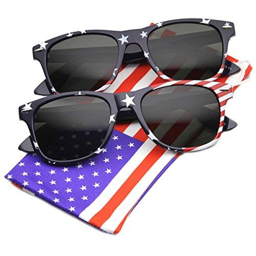 zeroUV - U.S. American Flag USA Stars and Stripes Horn Rimmed Sunglasses (Patriot Series | 2-Pack Stars (Top + - U Sunglasses 2