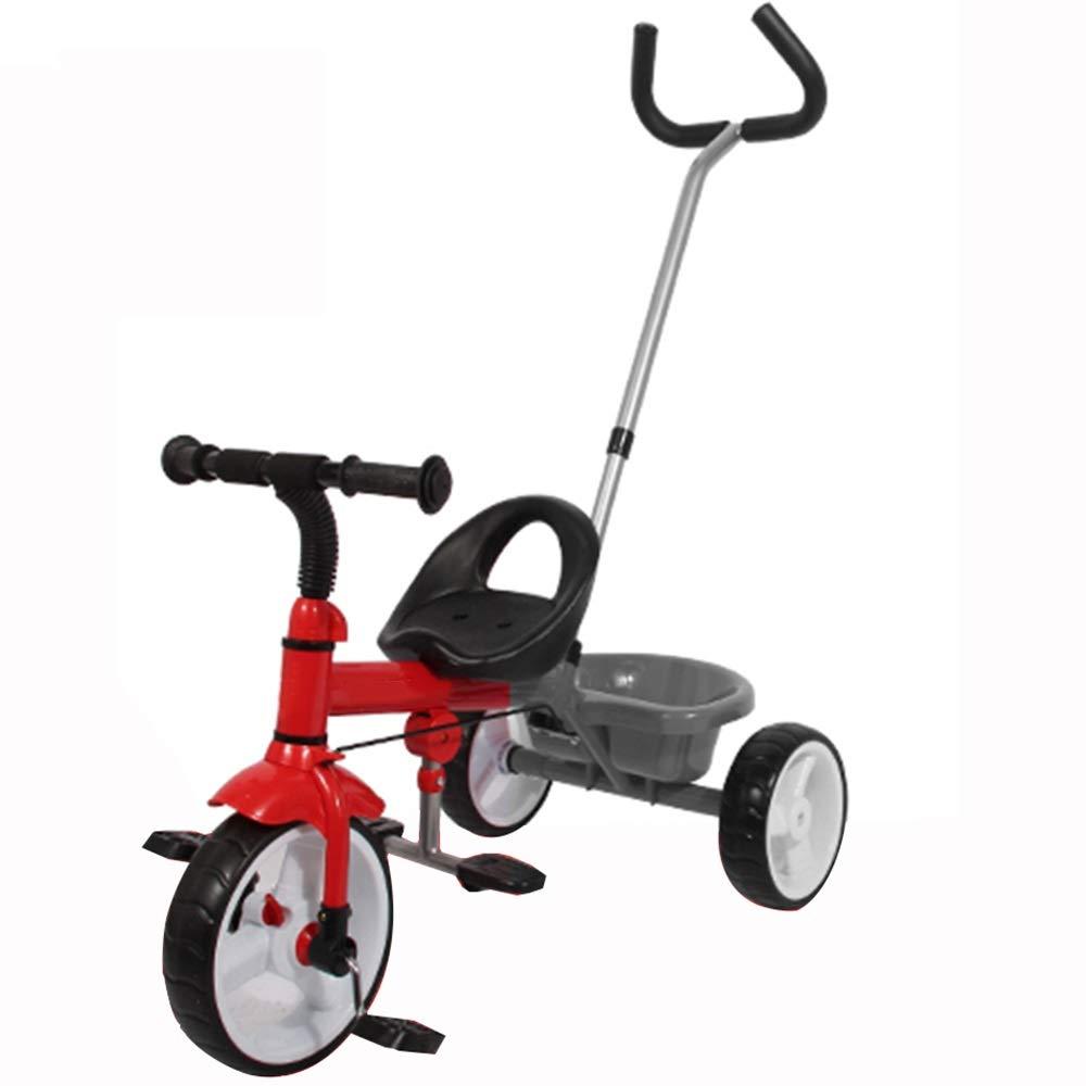 YUMEIGE 子ども用自転車 キッズ三輪車15年歳の誕生日プレゼントベビー三輪車(プッシュハンドル式)(積載重量30kg) 利用できるサイズ  赤 B07QCP58TZ