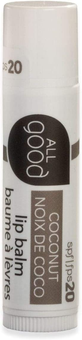 All Good SPF 20 Lip Balm for Soft Smooth Lips - Calendula, Lavender, Olive Oil, Beeswax, Vitamin E   Zinc Oxide for Safe Sun Protection (Coconut)