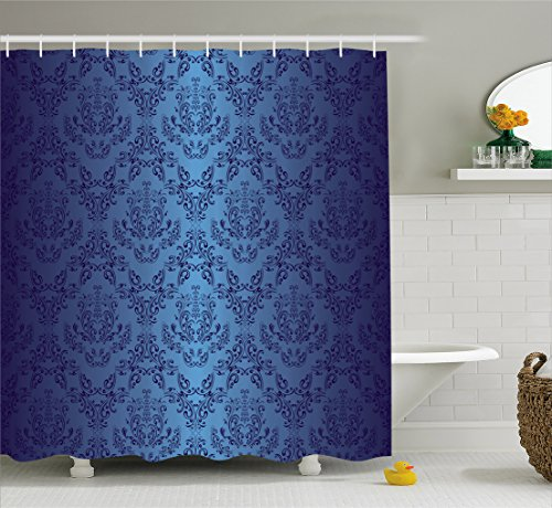 Ambesonne Navy Blue Decor Collection, Antique Baroque Floral Swirling Patterns Victorian Vintage Retro Style Chic Decor, Polyester Fabric Bathroom Shower Curtain, 75 Inches Long, Black Dark (Victorian Style Fabric)