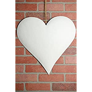 Large 18in. White Glitter Puffy Metal Heart Decorations - Excellent Home Decor - Indoor & Outdoor 13