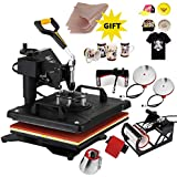ShareProfit 15'' X 15'' 6 in 1 Digital Heat Press Swing-Away Auto-Countdown Heat Press Machine T Shirt Press Machine for Hat Cap Non-Stick (15x15 inch 6in1)