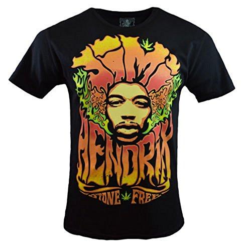 Jimi Hendrix Stone Free T-shirt - Purple Haze Jimi Hendrix Authentic Stone Free Concert T-Shirt - RocknRoll- Neon Colors - Music - Guitar - (Large)
