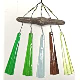 Coastal Shoreline Driftwood Coastal Green Glass Wind Chimes