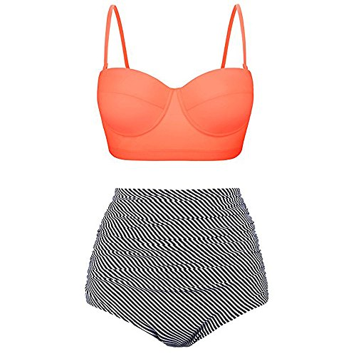 Qingell Swimsuits Women Vintage Polka Dot High Waisted Bathing Suits Bikini Set Swimwear Nautical Monokini 2 Set Orange