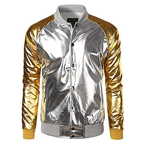 Fashion Men Metallic Nightclub Styles Zip Up Varsity Baseball Bomber Jacket Coat -