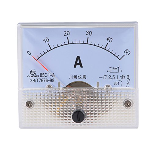 uxcell 85C1-A Analog Current Panel Meter DC 50A Ammeter for Circuit Testing Ampere Tester Gauge 1 PCS - Analog Electrical Circuit Multi Tester