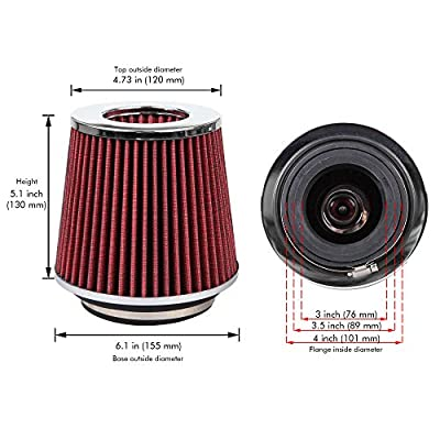 Cartman Universal Clamp-On Engine Air Filter: Washable: Round Tapered; 3 in/3.5 in/4 in (76 mm/89 mm/101 mm) Flange ID; 5.1 in (130 mm) Height; 6.1 in (155 mm) Base; 4.73 in (120 mm) Top, Red: Automotive