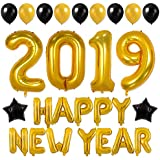 New Year Party Decor 40inch Gold 2019 Balloons 16inch Happy New Year Banner 12inch Latex Balloons for New Year Eve Party Supplies (Gold)