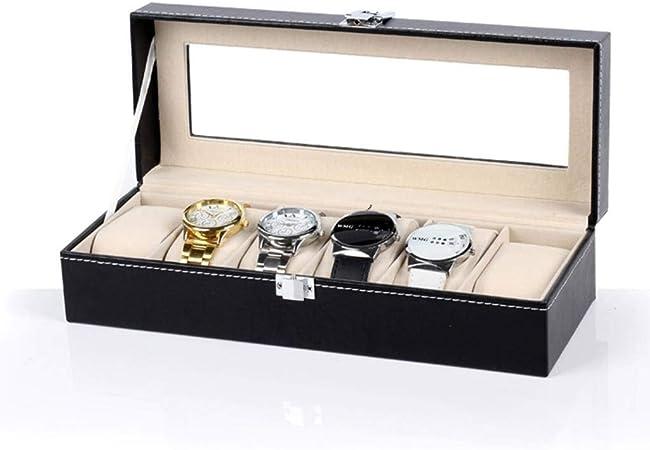 GOVD Estuche para Relojes con Piel Sintética Estuche para Guardar Relojes para Guardar Relojes, Negro A: Amazon.es: Hogar
