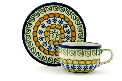 Cups Safe Saucers Oven (Polish Pottery Cup with Saucer 9 oz Autumn Weatfields)