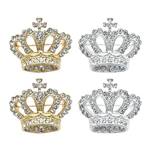 Monrocco 4 PCS Crown Rhinestone Crystal Brooches Pins