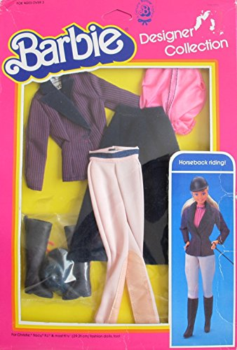 BARBIE Designer Collection FASHIONS w HORSEBACK RIDING Outfit & Accessories (1983 Mattel Hawthorne) - Barbie And Ken Box Costume