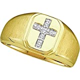 2heart Diamond Accents 14K Yellow Gold Fn .925 Sterling Cross Wedding Band Men's Ring