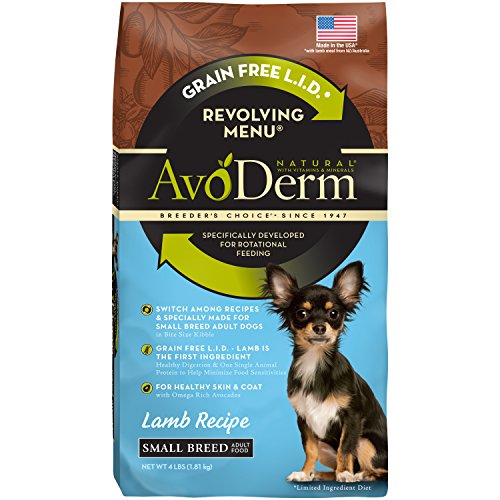 AvoDerm Natural Revolving Menu Small Breed Lamb Recipe Dry Dog Food, 4-Pound