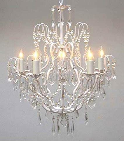 White wrought iron crystal chandelier chandeliers lighting h27 x w21 white wrought iron crystal chandelier chandeliers lighting h27 x w21 aloadofball Image collections