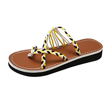 0e9dd2bb5 FORUU Women Fashion Knit Knots Flat Heel Round Toe Sandals Beach Shoes Flip  Flops YE