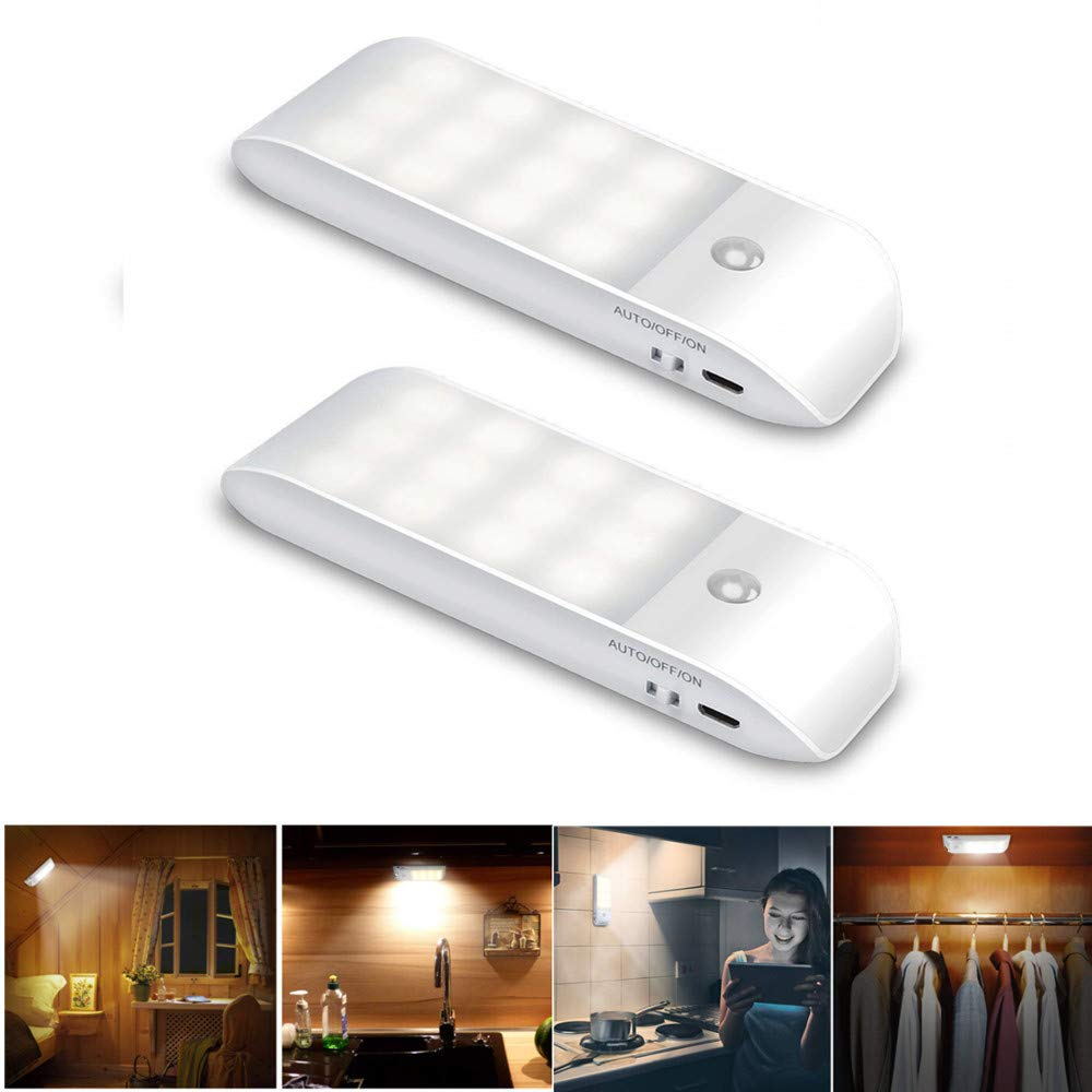DishyKooker 2PCS Motion Sensor Cabinets Lamps with USB Cables Warm White Light