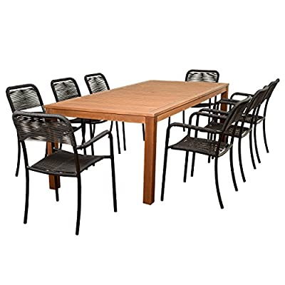 Brampton Eucalyptus 9-pc Patio Dining Set, Black - Its resistance to weather and UV radiation makes the set durable and enjoyable Highest quality hardware included Durable all-weather design ideal for any climate - patio-furniture, dining-sets-patio-funiture, patio - 51jXEKFtOiL. SS400  -
