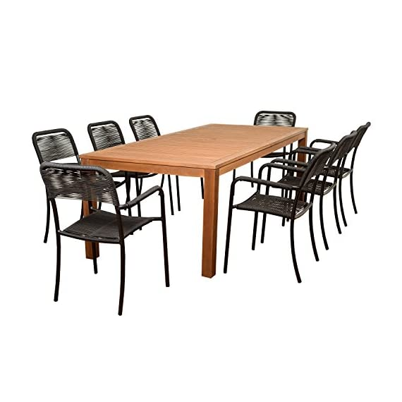 Brampton Eucalyptus 9-pc Patio Dining Set, 9-Piece - Its resistance to weather and UV radiation makes the set durable and enjoyable Highest quality hardware included Durable all-weather design ideal for any climate - patio-furniture, dining-sets-patio-funiture, patio - 51jXEKFtOiL. SS570  -
