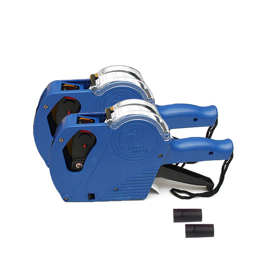 Yarachel MX5500 EOS Price Tag Gun Labeler Labeller - 2PCS 8 Digits Pricing Gun Labeler Kits Included Labels & Ink Refill (Blue)