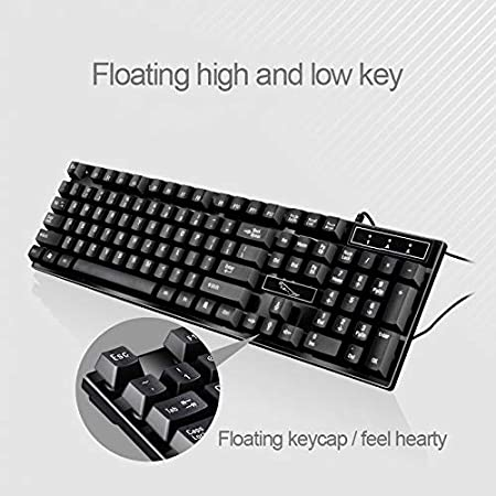 Mouse Cable Length: 1.3m Black Color : Black Wired Symmetrical Mouse Set IPartserve Computer Accessories HA Q17 104 Keys USB Wired Suspension Gaming Office Keyboard Keyboard Cable Length: 1.4m
