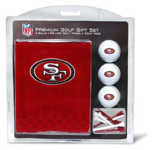 Team Golf NFL San Francisco 49ers Gift Set Embroidered Golf Towel, 3 Golf Balls, and 14 Golf Tees 2-3/4