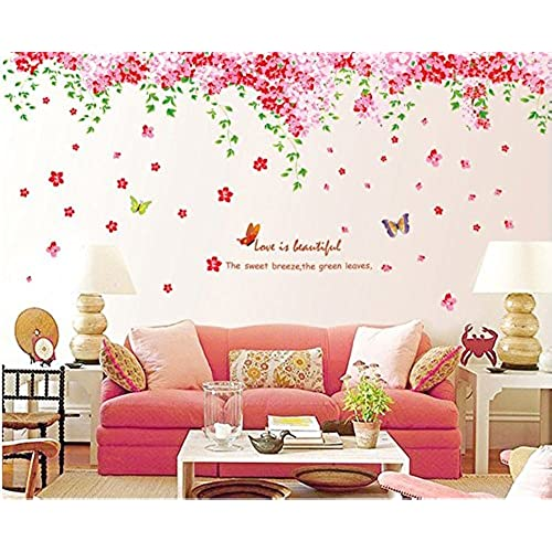 Amaonm Large Huge Fashion Pink Romantic Cherry Blossom Flower Vine  Butterfly Wall Corner Decal Wall Stickers Murals Wallpaper For Kids Girls  Bedroom Living ...