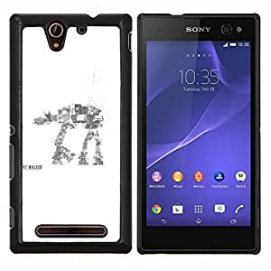 AT AT Walker- Metal de aluminio y de plástico duro Caja del teléfono - Negro - Sony Xperia C3 D2533 / C3 Dual D2502