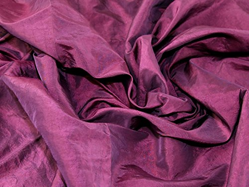 Crushed Textured Shot Taffeta Dress Fabric Fuchsia Pink - per metre