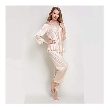 HAOLIEQUAN Traje De Pijamas De Mujer Primavera Verano Pijamas De Seda Set De Pijamas De Satén