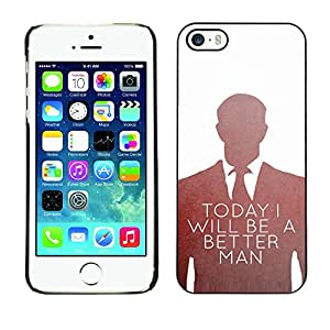 LECELL--Funda protectora / Cubierta / Piel For Apple iPhone 5 / 5S -- Be Better Man Suit Vignette White --