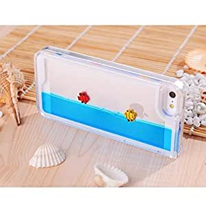 Funny Fashion Fishes Freely Swimming Clear Crystal Case Cover for Iphone 5 5s (blue)