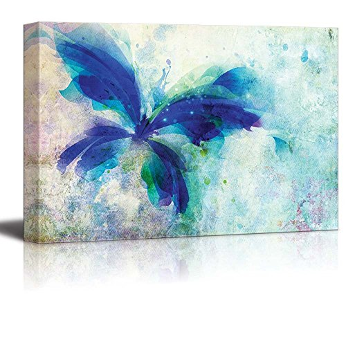 wall26 Beautiful Blue Butterfly on a Vintage Watercolor Background - Canvas Art Home Decor - 32x48 inches