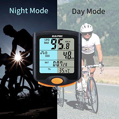 RISEPRO Bike Computer, Wireless Bicycle Speedometer Bike Odometer Cycling Multi Function Waterproof 4 Line Display with Backlight YT-813 by RISEPRO (Image #6)