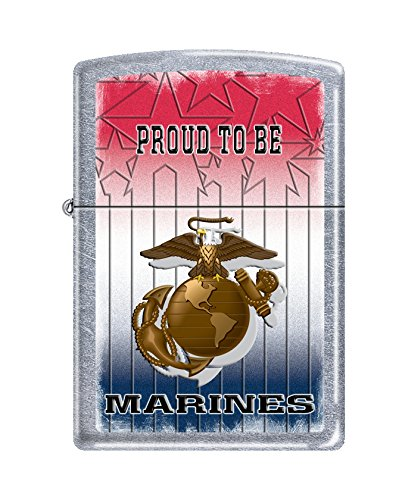 Zippo USMC Proud to Be Street Chrome Pocket Lighter