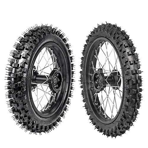 WPHMOTO Front Tire 60/100-14 & Rear Tire 80/100-12 Disc Brake Wheel Rim With 15mm Bearing for Pit Dirt Bike