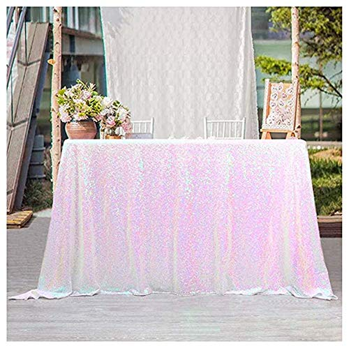 50x102 inch Iridescent White Sequin Tablecloth Sparkle Table Cloth for Wedding sequin overlay -