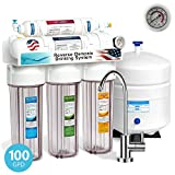 Express Water 5 Stage Under Sink Reverse Osmosis Filtration System 100 GPD RO Membrane Filter Modern Faucet Clear Housings Pressure Gauge - Ultra Safe Residential Water Purification One Year Warranty